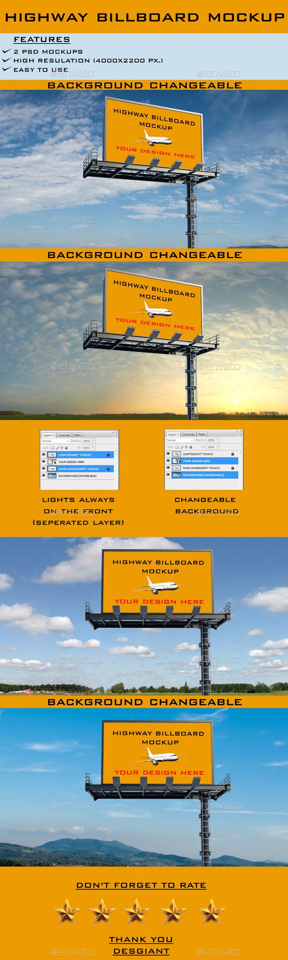 Realistic Highway Billboard Mockup - Signage Print