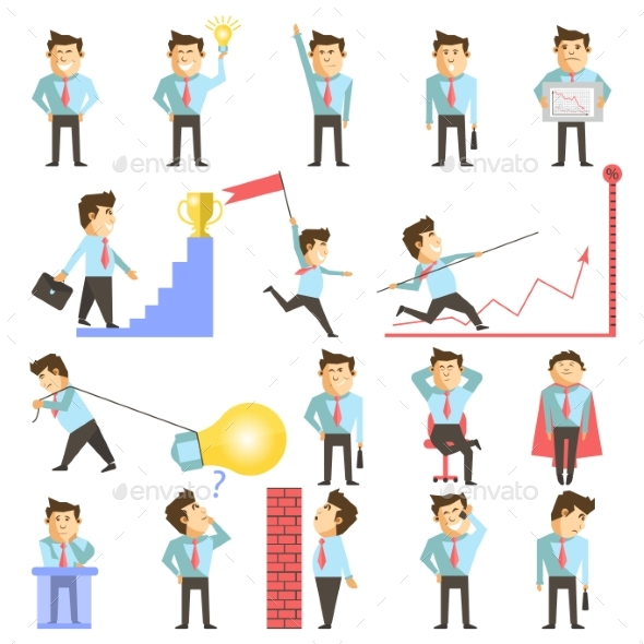 Businessman and Business Work Vecor Illustration - Concepts Business