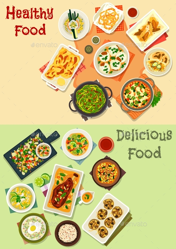 Indian Cuisine Icon Set for Dinner Menu Design - Food Objects