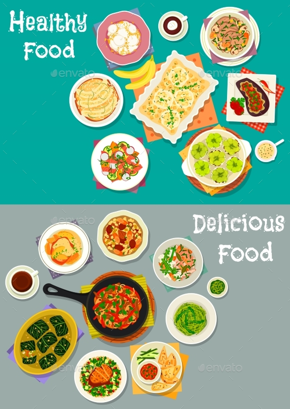 Dinner with Healthy Fruit Desserts Icon Set - Food Objects