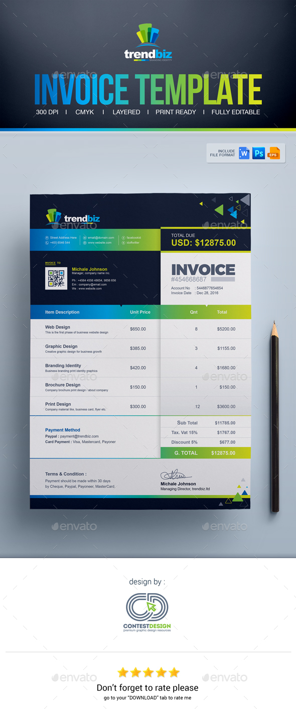 Invoice Template | MS Word invoice | PSD invoice | EPS invoice template - Proposals & Invoices Stationery