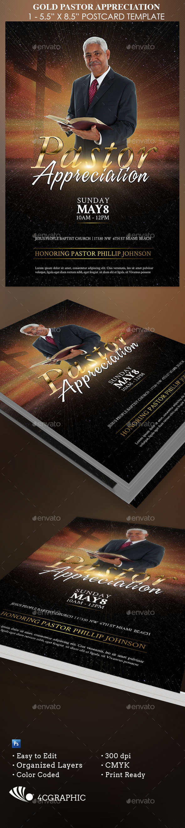 Gold Pastor Appreciation - Church Flyers