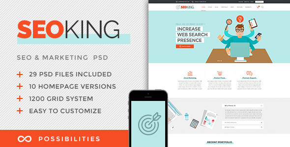 SEO King - Marketing, SEO & Digital Agency PSD Template - Marketing Corporate