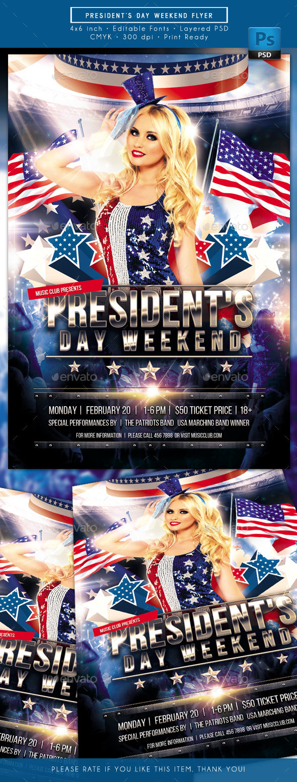 Presidents Day Weekend Flyer - Holidays Events