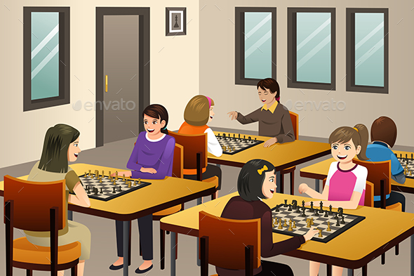 Girls Playing Chess in a Chess Club - People Characters