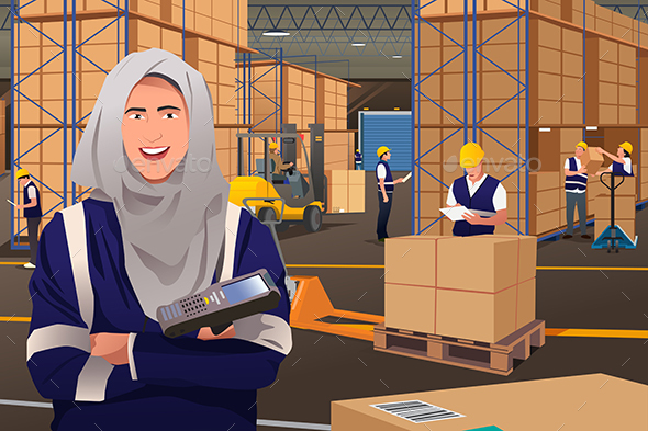 Muslim Woman Working in a Warehouse - People Characters