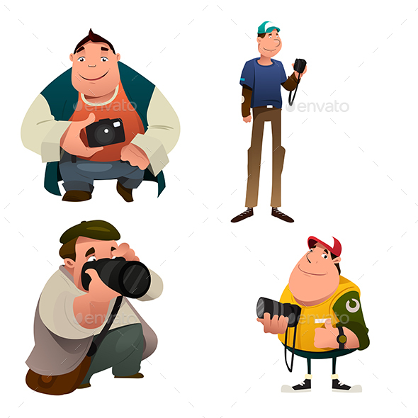 Funny Photographer Characters Holding a Camera - People Characters