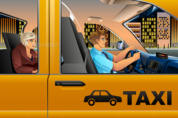 Taxi Driver Driving a Passenger - People Characters