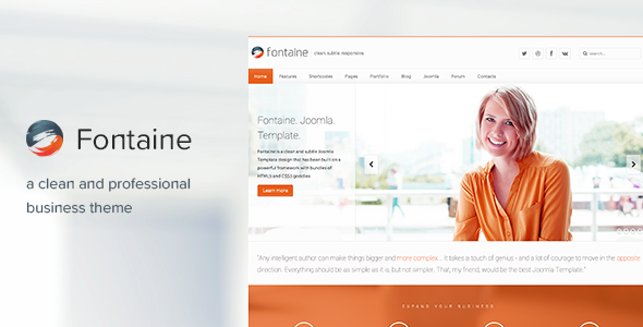fontaine clean responsive joomla template joomla fontaine responsive joomla business template by