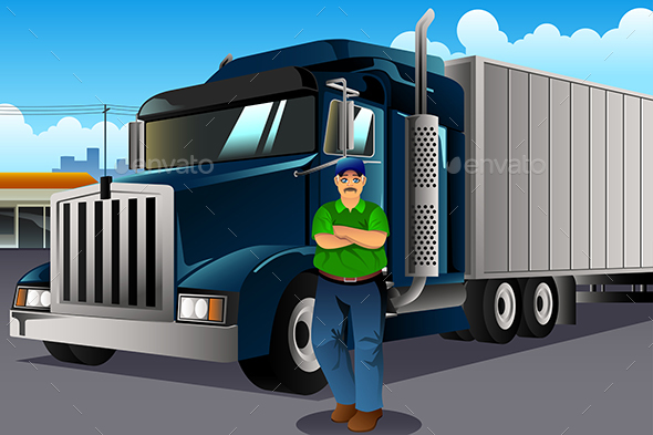 Truck Driver Standing in Front of His Truck - People Characters