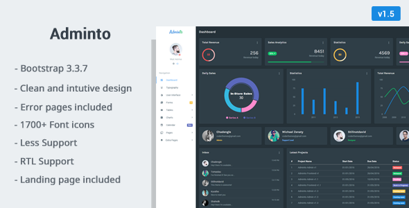 Adminto - Responsive Admin Dashboard - Admin Templates Site Templates