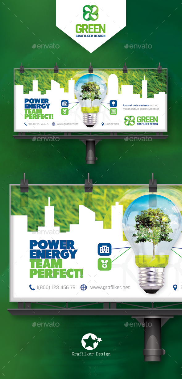 Green Energy Billboard Templates - Signage Print Templates