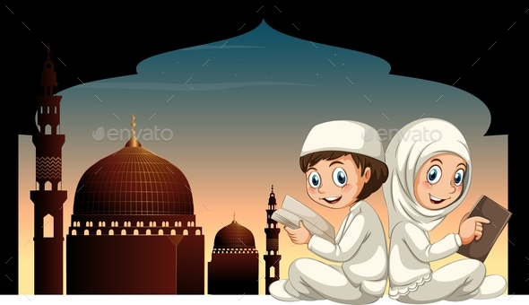 Two Muslim Kids Reading Book with Mosque Background - People Characters