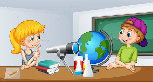 Boy and Girl Study in the Classroom - People Characters