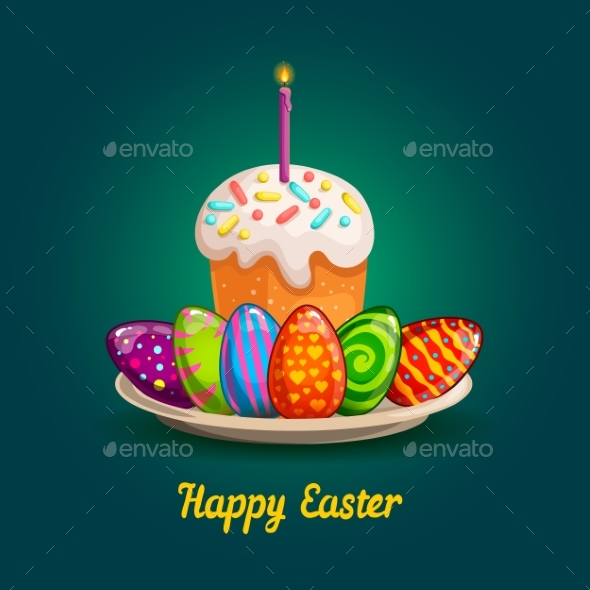 Card with Easter Eggs and Cake - Decorative Symbols Decorative