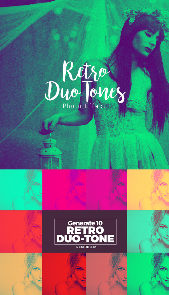 10 Retro Duo-Tone Effects - Action - Photo Effects Actions