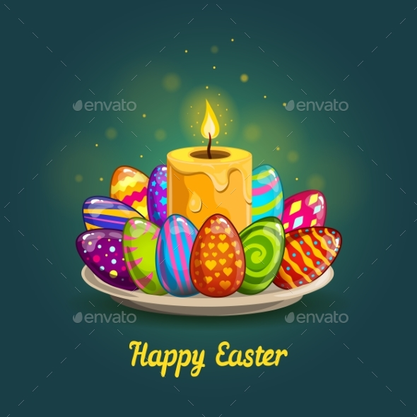 Card with Easter Eggs and Candle - Decorative Symbols Decorative
