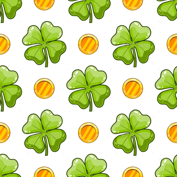Seamless Pattern with Clover Leaf - Flowers & Plants Nature