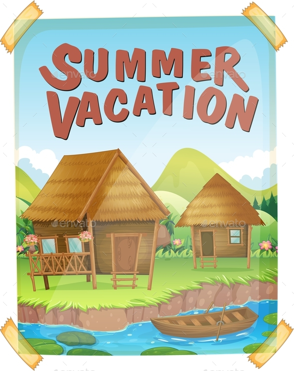 Summer Vacation Poster with Houses by the River - Seasons Nature