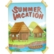 Summer Vacation Poster with Houses by the River - GraphicRiver Item for Sale