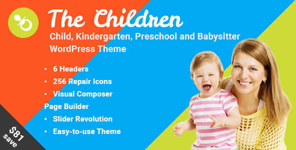 The Children - Child, Kindergarten and Babysitter WordPress Theme - Education WordPress