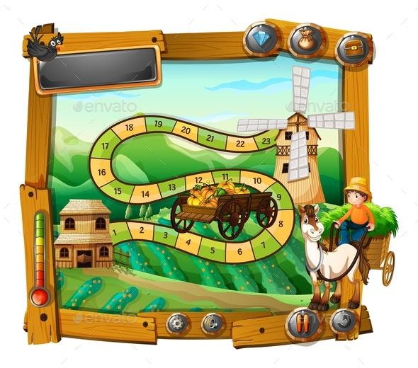 Game Template with Farmer on Wagon - Miscellaneous Conceptual