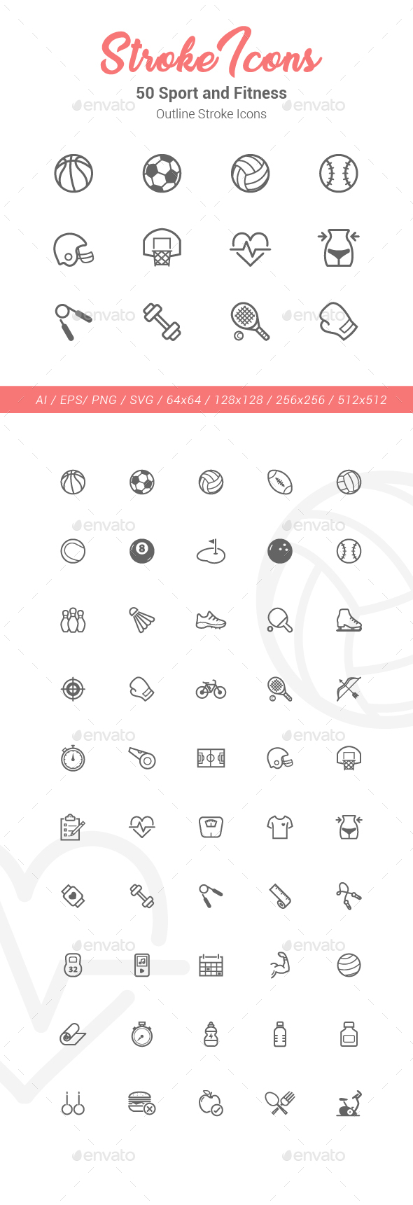 50 Sport and Fitness Outline Stroke Icons - Objects Icons