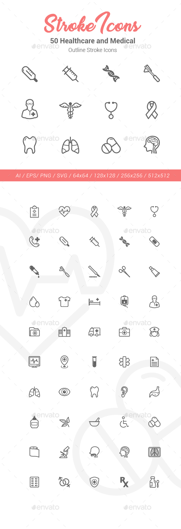 50 Healthcare Outline Stroke Icons - Objects Icons