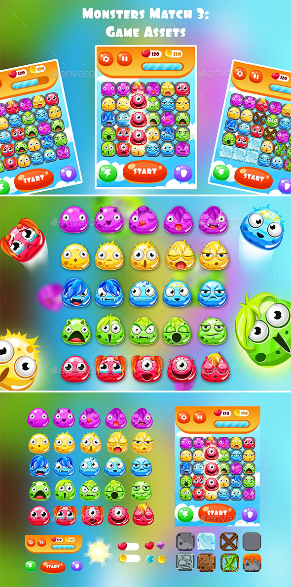 Monsters Match 3 - Game Kits Game Assets