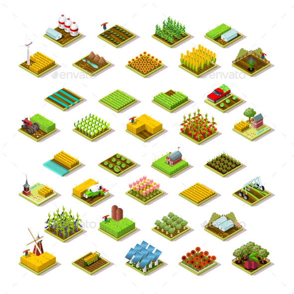 Isometric Farm Building 3D Icon Collection Vector Illustration - Vectors