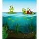 Two Happy Frogs and Tadpoles in the Pond - GraphicRiver Item for Sale
