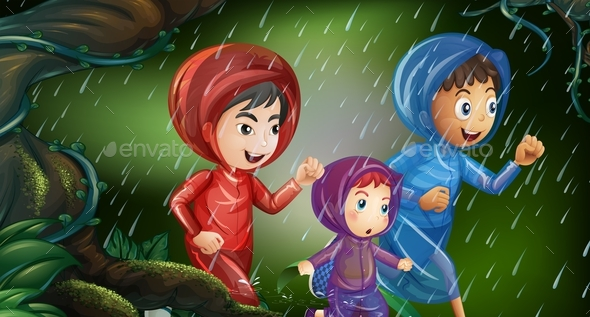 Three Kids Running in the Rain - People Characters