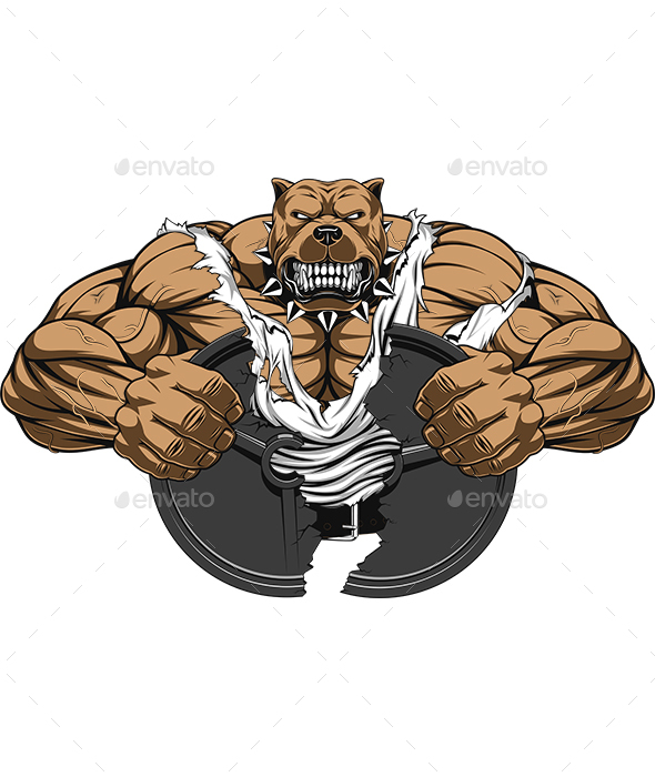 Angry Dog Bodybuilder - Sports/Activity Conceptual