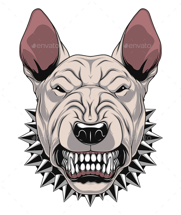 Ferocious Bullterrier Head - Animals Characters