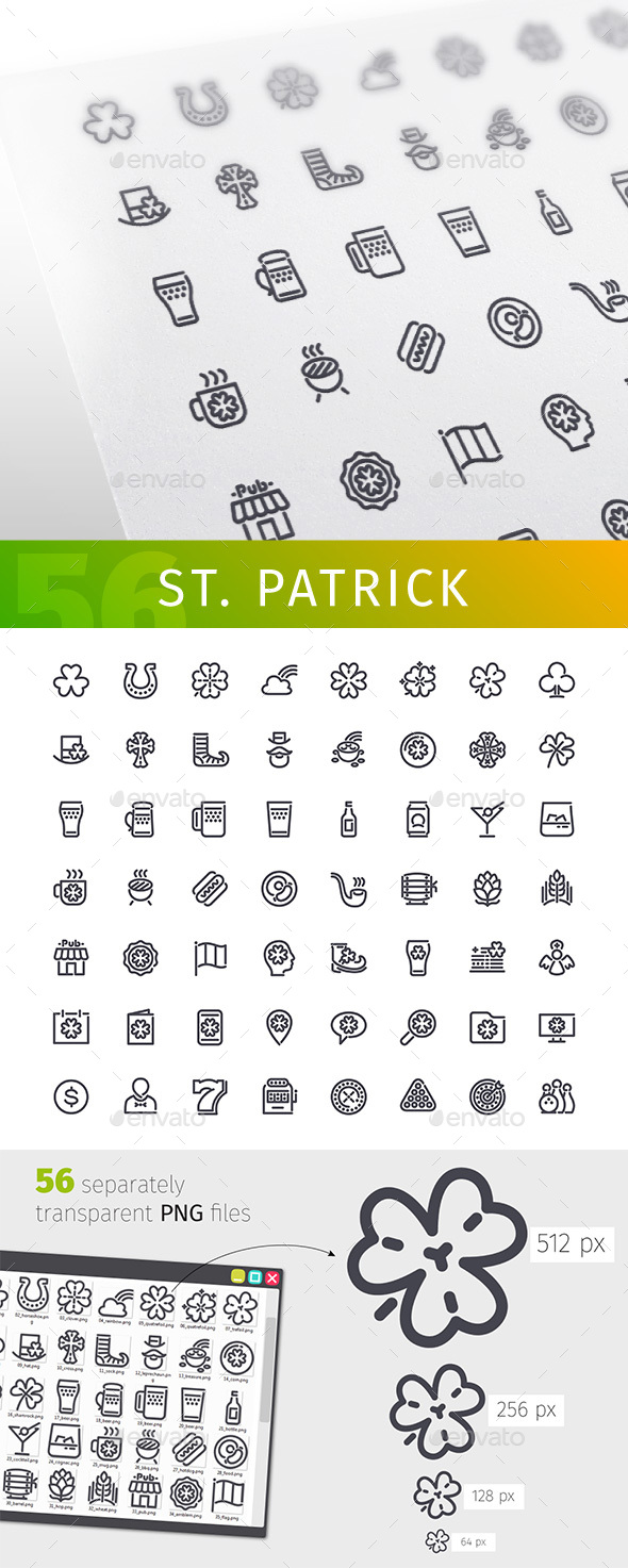 St. Patrick's Line Icons Set - Miscellaneous Icons