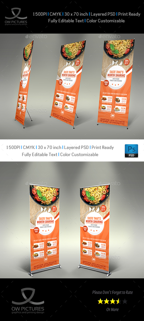 Restaurant  Rollup Signage Banner Template Vol.9 - Signage Print Templates