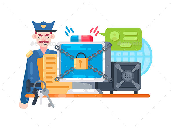 Digital Protection and Security - Miscellaneous Vectors