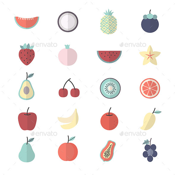 Fruit, Healthy Food Set Of Nature Icon Style Colorful Flat Icons - Food Objects