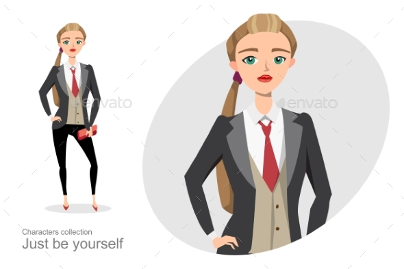 Serious Woman in a Business Suit Unisex - People Characters