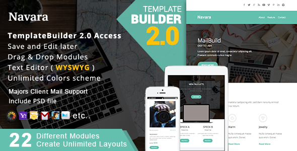 Navara - Responsive Email + MailBuild Online - Newsletters Email Templates