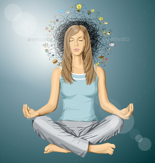 Woman Meditation in Lotus Pose - People Characters