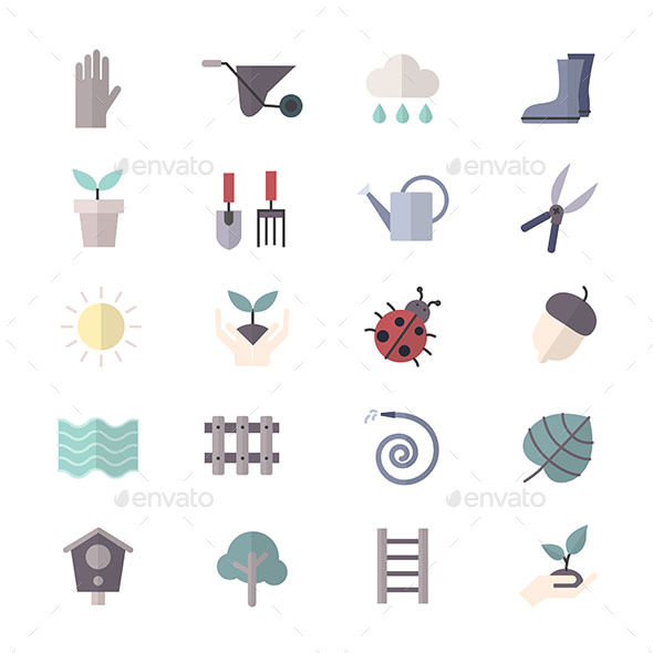 Garden Icons and Tools Icons Set Of Vector Colorful Flat Icon - Objects Icons