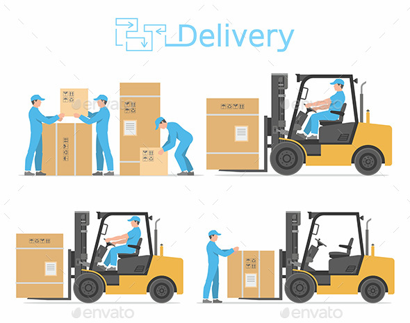 Forklift Truck with Box - Industries Business