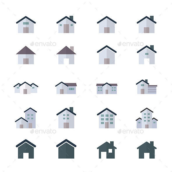 House Icons and Home Icons Set Of Building Icons Style Colorful Flat Icons - Buildings Objects