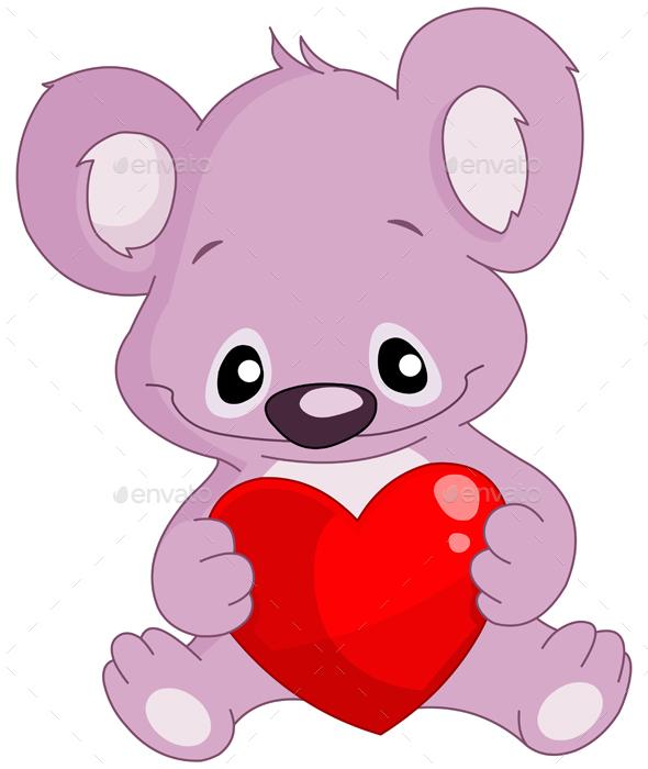 Koala Holding a Heart - Valentines Seasons/Holidays
