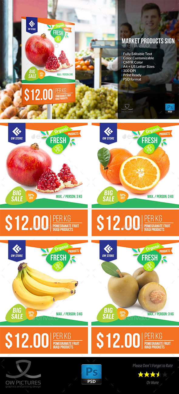 Market Fruit Sign Template - Flyers Print Templates