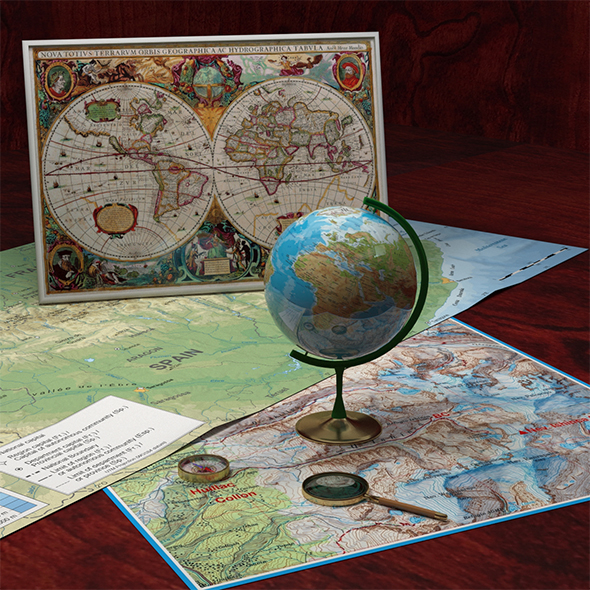 Compass, Globe, Old Map and Magnifying Glass - 3DOcean Item for Sale