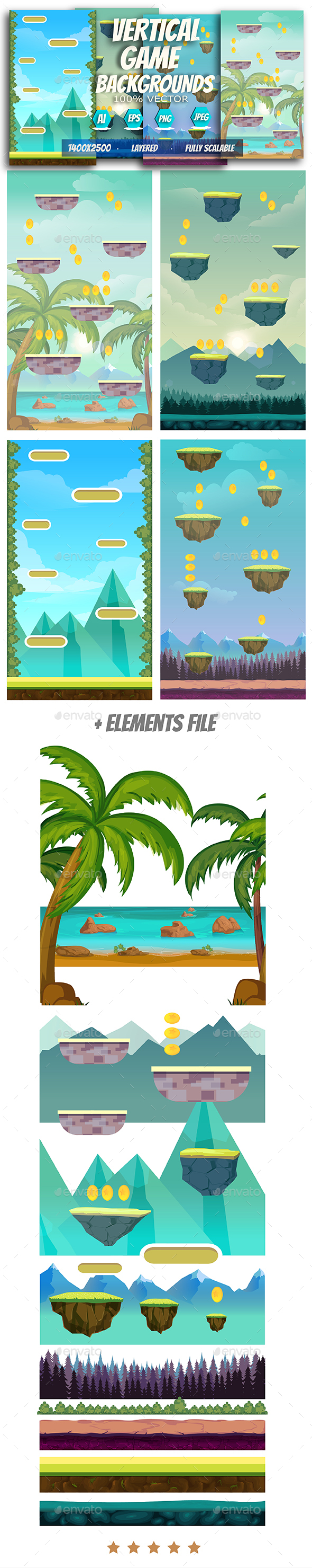 Vertical Game Backgrounds - Backgrounds Game Assets