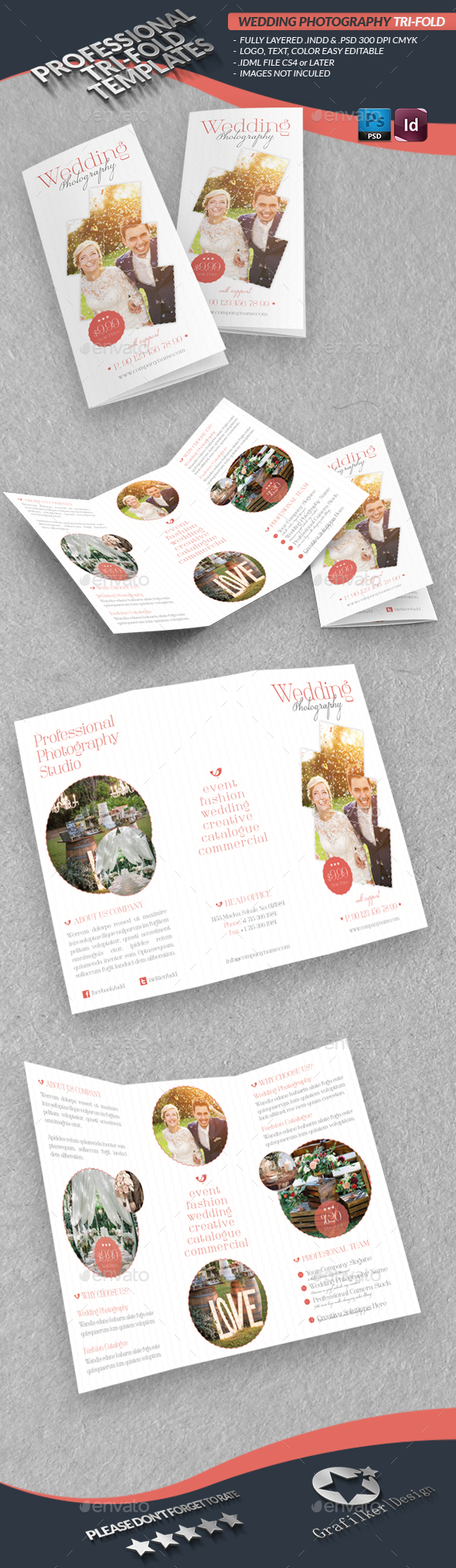 Wedding Photography Tri-Fold Template - Informational Brochures