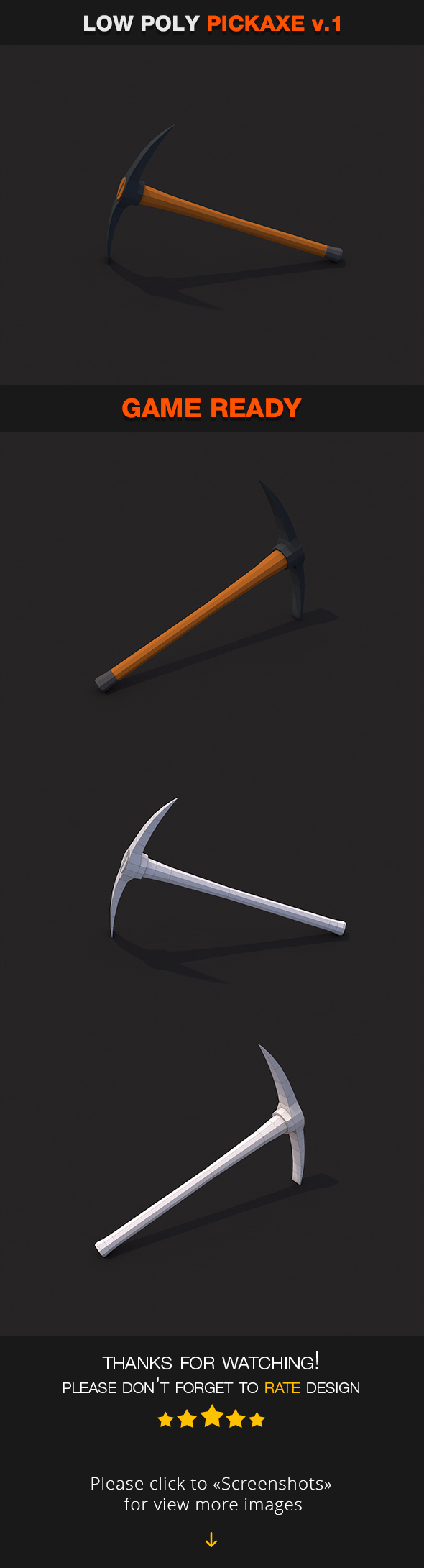 Low Poly Pickaxe v.1 - 3DOcean Item for Sale